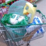 A shopping trolley full of food